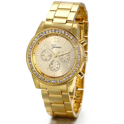 Boniskiss Unisex Women's Rhinestone Accented Gold-Tone Bracelet Watch with Stainless Steel Band