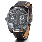 Boniskiss Luxury Men Dual Time Zones Round Dial Coffee Leather Band Quartz Analog Wrist Watch Army Style Sports Watches