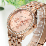 Boniskiss Rose Gold Plated Classic Round Rhinestone Ladies Boyfriend Watch