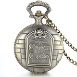 Boniskiss Retro Bronze Tim Burton's Nightmare before Christmas Engraved Quartz Pocket Watch Necklace Locket Pendant 31 Inch Chain