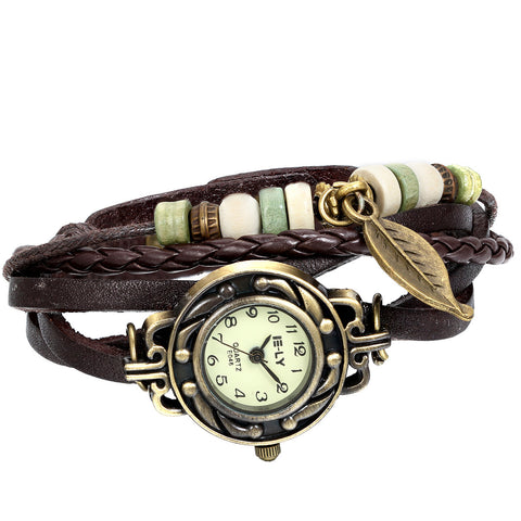 Boniskiss Women Quartz Fashion Weave Wrap around Leather Bracelet Wrist Watch