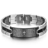 Boniskiss Stainless Steel Black Religious Cross English Lords Prayer Mens Bracelet