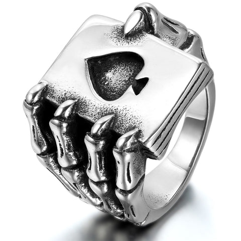 Boniskiss Mens Stainless Steel Ring Gothic Skull Hand Claw Poker Playing Card Black Silver
