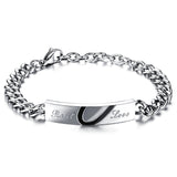 Boniskiss Men,Women's Real Love Heart Stainless Steel Bracelet Valentine Love Couples Wedding Engagement Promise