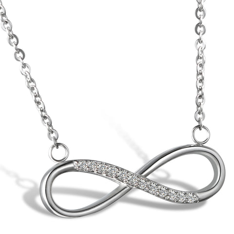 Boniskiss Stainless Steel Rhinestone Accent Love Charm Infinity Pendant Necklace 18 Inch
