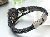 Boniskiss Poker Bracelet Leather Rope Easy Clasp Black