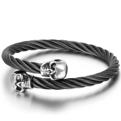 Boniskiss Elastic Adjustable Mens Skull Bangle Bracelet Steel Twisted Cable Cuff Bracelet Silver Black
