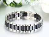Boniskiss Black Ceramic and Stainless Steel Bracelet Link Chain Bangle Wristband