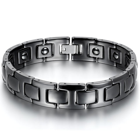 Boniskiss Black Ceramic and Stainless Steel Bracelet for Men