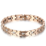 Boniskiss Womens Classic Charm Brief Health Fashion Tungsten Steel Rhinestone Bracelet Rosegold