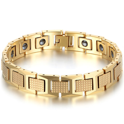 Boniskiss Mens Charm Fashion Tungsten Steel Bracelet Gold