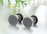 Boniskiss 9mm Mens Stud Earrings Stainless Steel Illusion Tunnel Plug Screw Back with Carbon Fiber