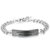 Boniskiss Valentine Gifts Men Women's Stainless Steel Bracelet Link Curb Chain Wristband Silver Black