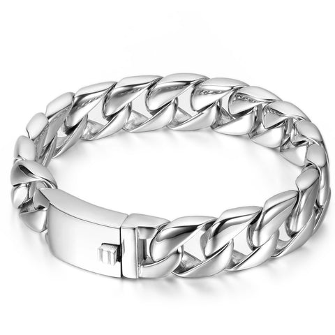Boniskiss High Polished Men's Stainless Steel Wide Link Chain Large Heavy Biker Bracelet