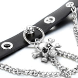 Boniskiss Punk Rock Leather Choker with Skull Pendant