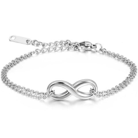 Boniskiss Stainless Steel Handmade Charm 8 Shape Infinity Love Bracelet for Girls Women Mother's Day Gift