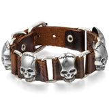 Boniskiss Rock Punk Large Skull Bracelet Leather Clasp Cuff Bangle Silver Valentine Day Gift