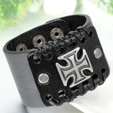 Boniskiss Rock Punk Mens Cross Bracelet Wide Band Cuff Bangle Brown Black Valentine Day Gift