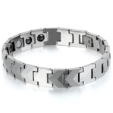 Boniskiss Punk Men's Heavy Magnetic Therapy Beads Tungsten Bracelet Link Wrist 8.4, Silver