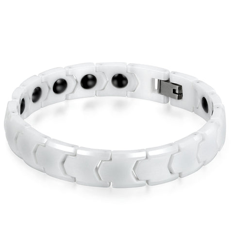 Boniskiss Mens 11MM Wide Ceramic Magnetic Bracelet Link Wristband Polished White