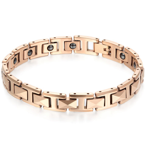 Boniskiss Men's Tungsten Bracelet Magnetic Beads Link Wrist Polished 8mm, Color Rose Gold