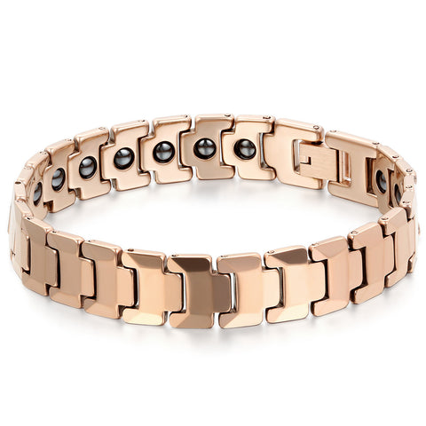 Boniskiss Men's Tungsten Bracelet Magnetic Beads Link Wrist Polished 12mm, Color Rose Gold