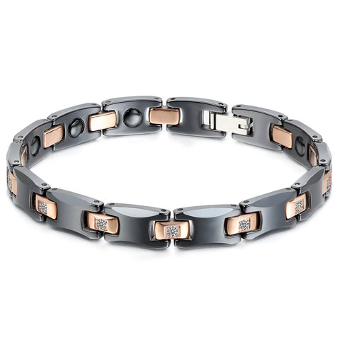 Boniskiss Ceramic Stainless Steel Bracelet Black Gold 8mm