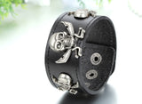 Boniskiss Mens Gothic Pirate Skull Charm Black Leather Bracelet Biker Halloween Jewelry