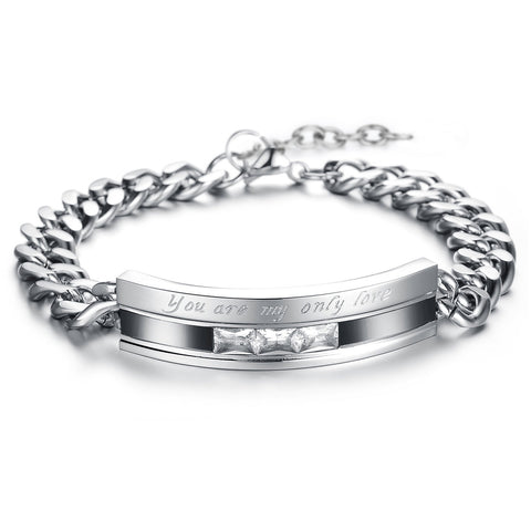 Boniskiss His Hers Stainless Steel You Are My Only Love Promise Link Chain Bracelet for Men Women Lovers