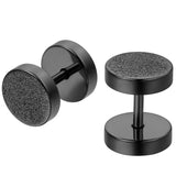 Boniskiss 8mm Black Screw Stud Earrings for Men Women Stainless Steel Cheater Fake Ear Plugs Gauges Illusion Tunnel 2pcs