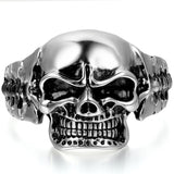 Boniskiss Mens Stainless Steel Biker Skull Cuff Bangle Bracelet Silver Black Two-tone Polished Heavy