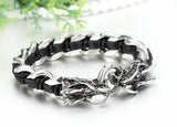 Boniskiss Gift for Dad Mens Stainless Steel Dragon Curb Chain Bracelet Interwoven with Black Genuine Leather Strap
