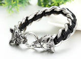 Boniskiss Fathers Day Gift Stainless Steel Mens Wolf Head Curb Chain Bracelet Interwoven with Black Genuine Braided Leather