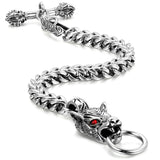Boniskiss Gift for Dad Stainless Steel Mens Wolf Head Bracelet Vintage Gothic 8.7 Inches