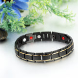 Boniskiss Mens Unique Stainless Steel Power Element Bracelet with Magnets, Gold Black Color