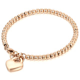 Boniskiss Women's Stainless Steel Bead Chain Bracelet with Heart Charm Adjustable