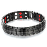 Boniskiss Fashion Black 15MM Stainless Steel Link Chain Magnetic Health Bracelet for Men, 8.7""