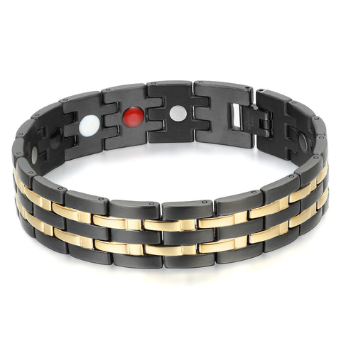 Boniskiss Exquisite Stainless Steel Link Chain Magnetic Bracelet Health Wristband for Men, 8.9""