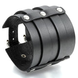 Boniskiss Punk Rock Mens Adjustable Wide Strap Belt Buckle Leather Bangle Cuff Bracelet