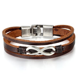 Boniskiss Infinity Charm Leather Bracelet for Men Women Wrist Wraps Bracelet Braided Cuff Bangle