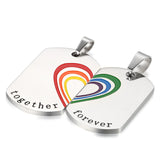 "Boniskiss 2pcs Stainless Steel Matching Heart Rainbow Puzzle Pendant Necklaces for Gay & Lesbian Pride, Chains 18"" and 22"""