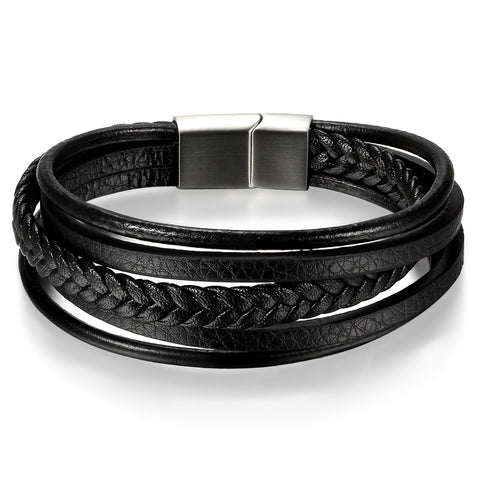 Boniskiss Stainless Steel Bracelet with Braided Leather Rope for Men