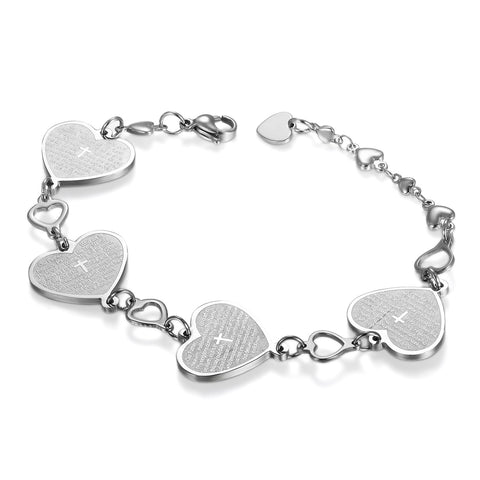 Boniskiss Stainless Steel Bracelet with Corss Heart for Women