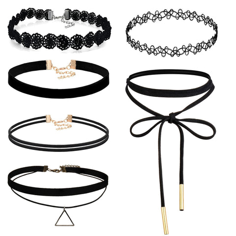 Boniskiss Velvet Choker Necklaces Set 6PCS Black