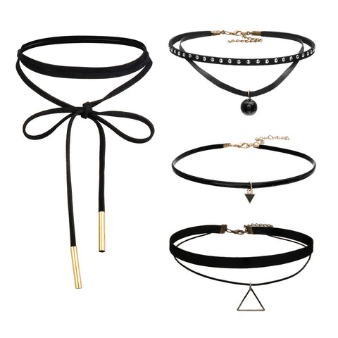 Boniskiss 4 Pieces Leather Chain Necklace for Women Girls Choker Tassel Necklace Velvet Adjustable