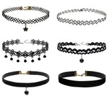 Boniskiss 6PCS Choker Necklaces for Women Black Velvet Lace Choker Collar Tattoo Necklace Pendant for Girls