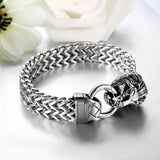Boniskiss Stainless Steel Bracelet with Lion Head for Men