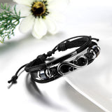 Boniskiss Infinity Leather Bracelet Wrist Wraps Braided Cuff Bangle
