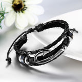 Boniskiss Fish Hook Bracelet Braided Leather Rope Wristband