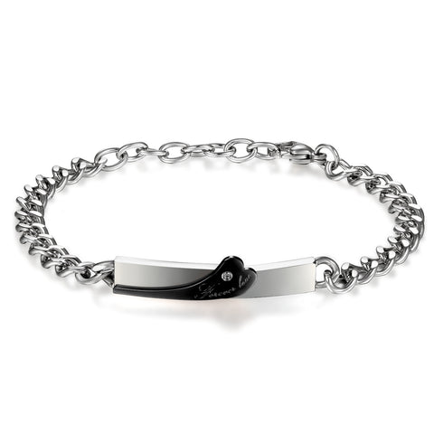 Boniskiss Stainless Steel Bracelet with forever love for Couples